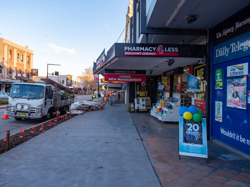 Australia Sydney NSW Pharmacy for Less Shop Front and Foot path in Five Dock