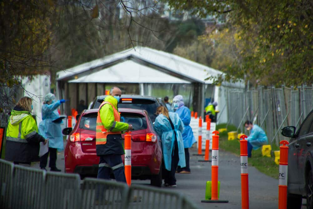 AustraliaVictoria Doctors and nurses wearing full PPE test for covid19 at outdoor drive through covid testing site in Albert Park during fourth covid 19 lockdown