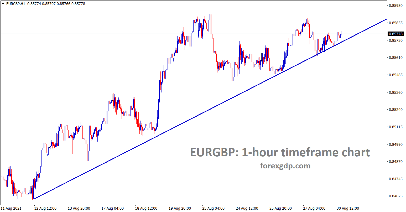 EURGBP is moving in an uptrend line forming continuous lows