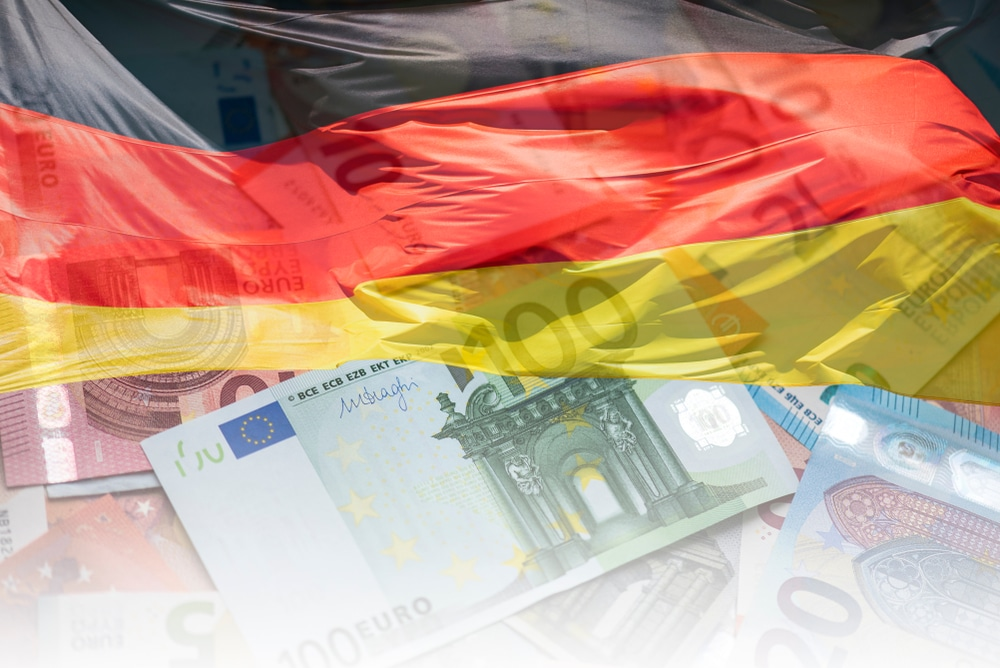 German Flag and EU Euro banknotes Flag of Germany and Euro Money