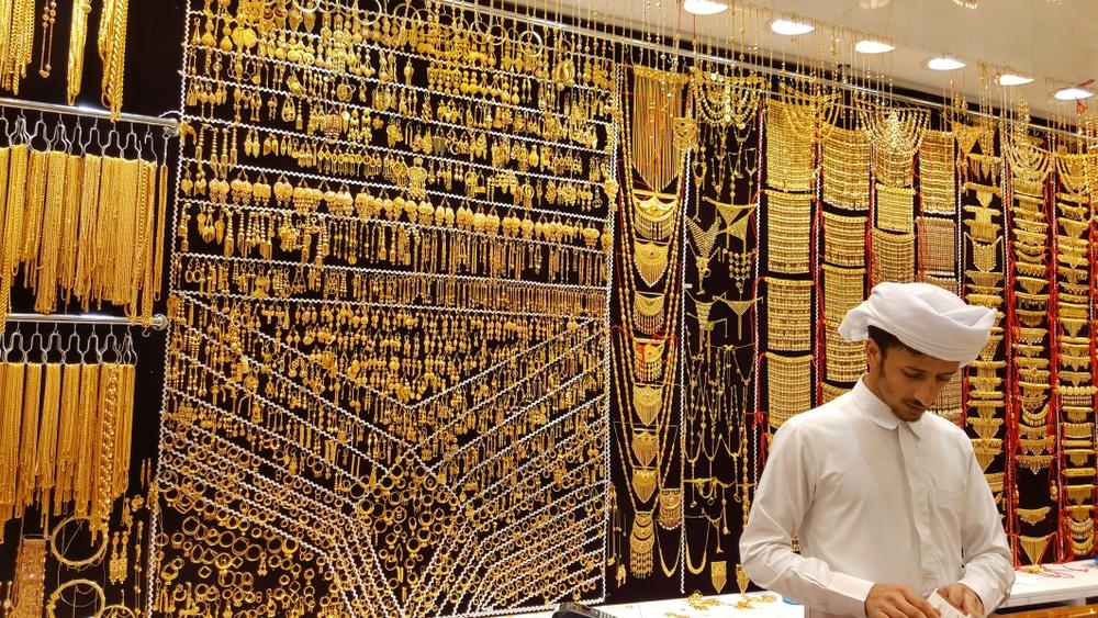 Gold on the famous Golden souk in Dubai Deira market