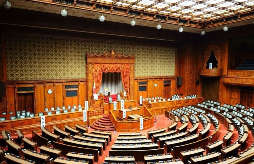 Japan The Sangiin part of the Japanese National Diet HouseIt is the upper house of the National Diet of Japan with 242 members
