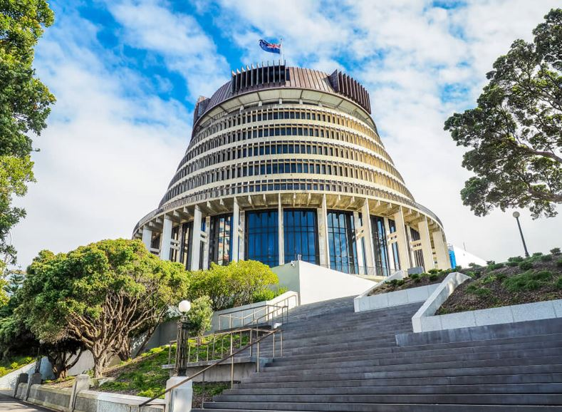 New Zealand Beehive the Executive Wing of the New Zealand Parliament Buildings in Wellington City