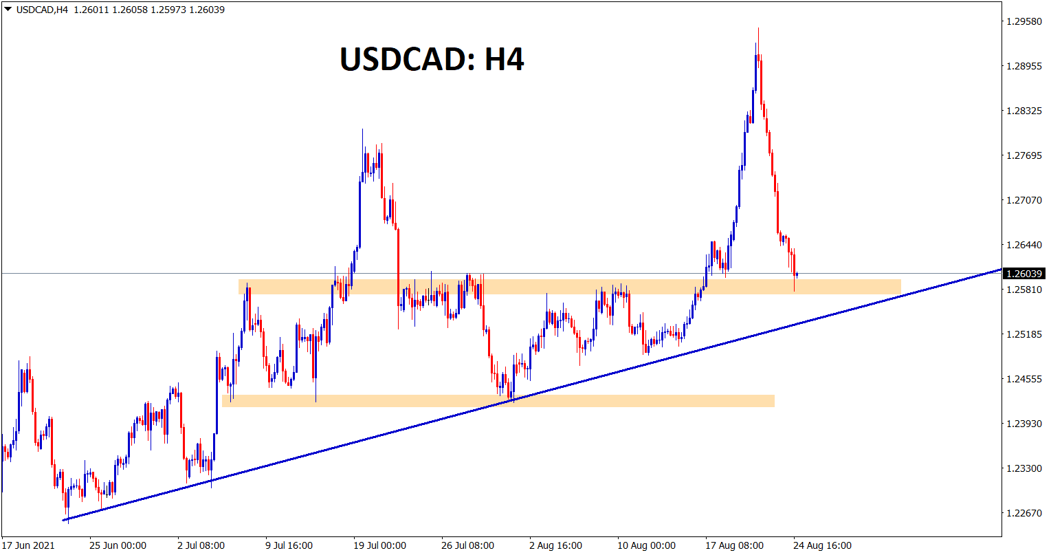 USDCAD hits the previous resistance area and going to reach the higher low of an uptrend line