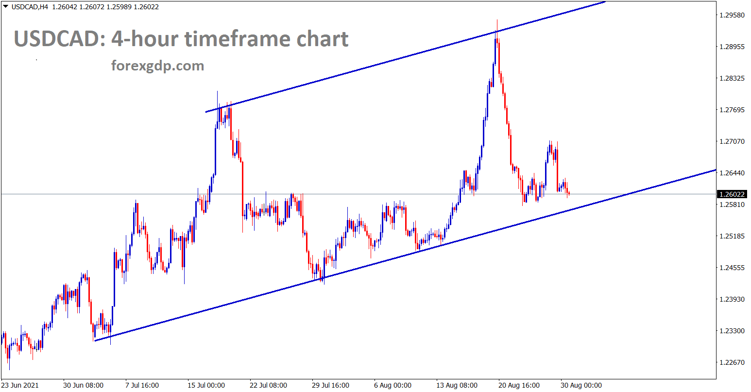 USDCAD is going to reach the higher low of uptrend line in the h4 chart