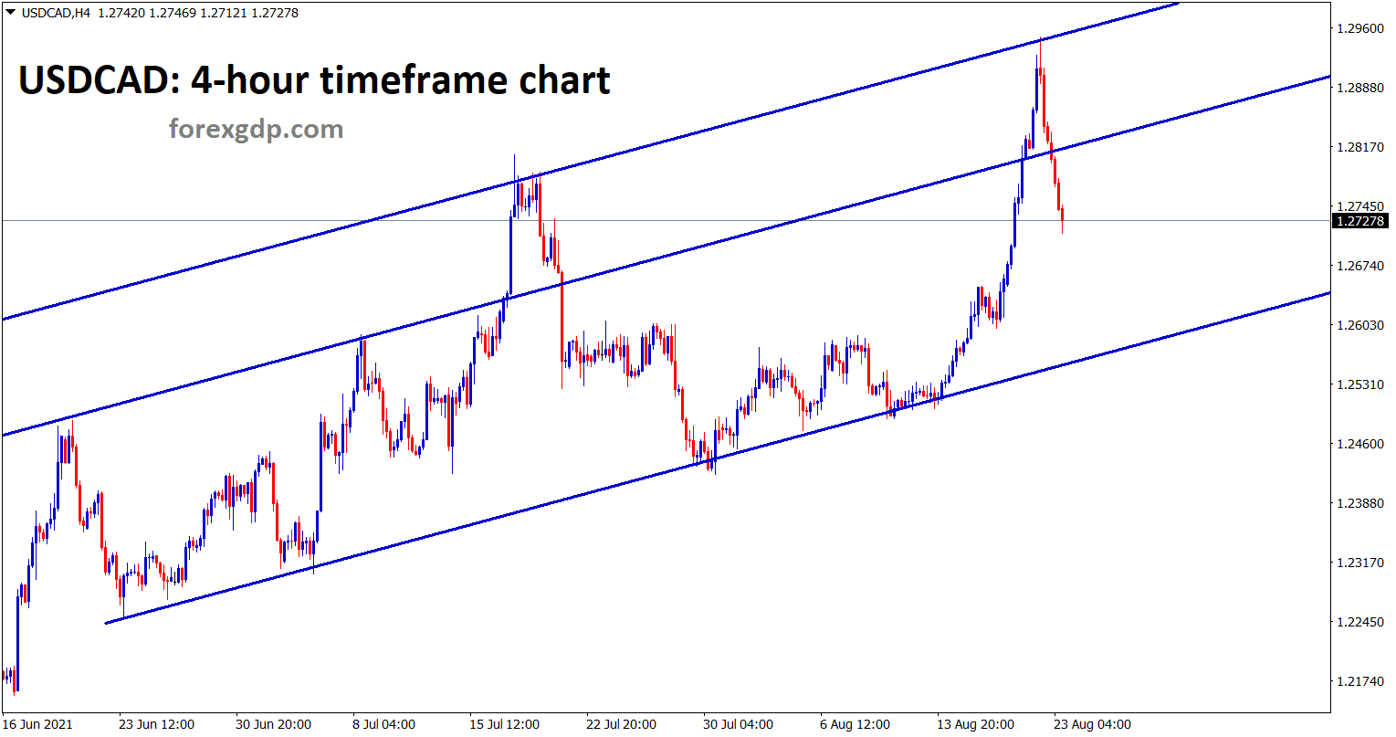 USDCAD is moving in an uptrend line in the 4 hour timeframe chart