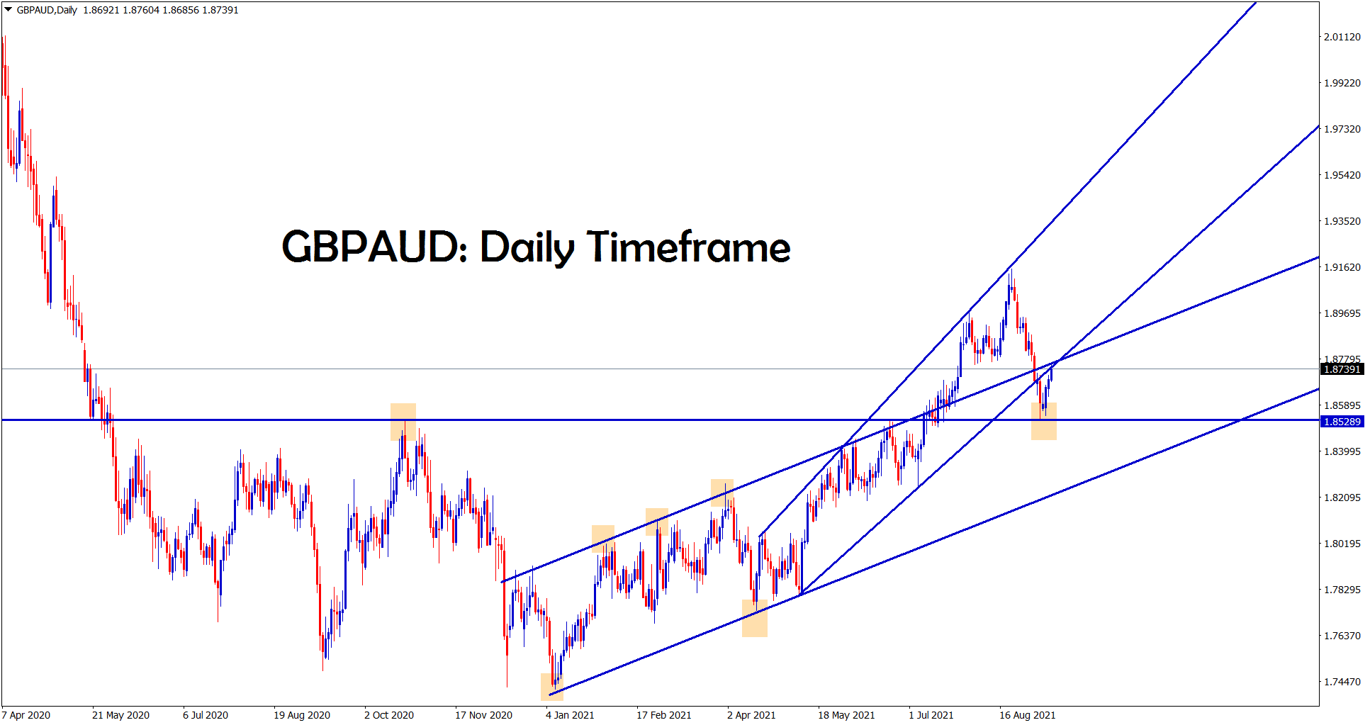 GBPAUD bounces back from the support area