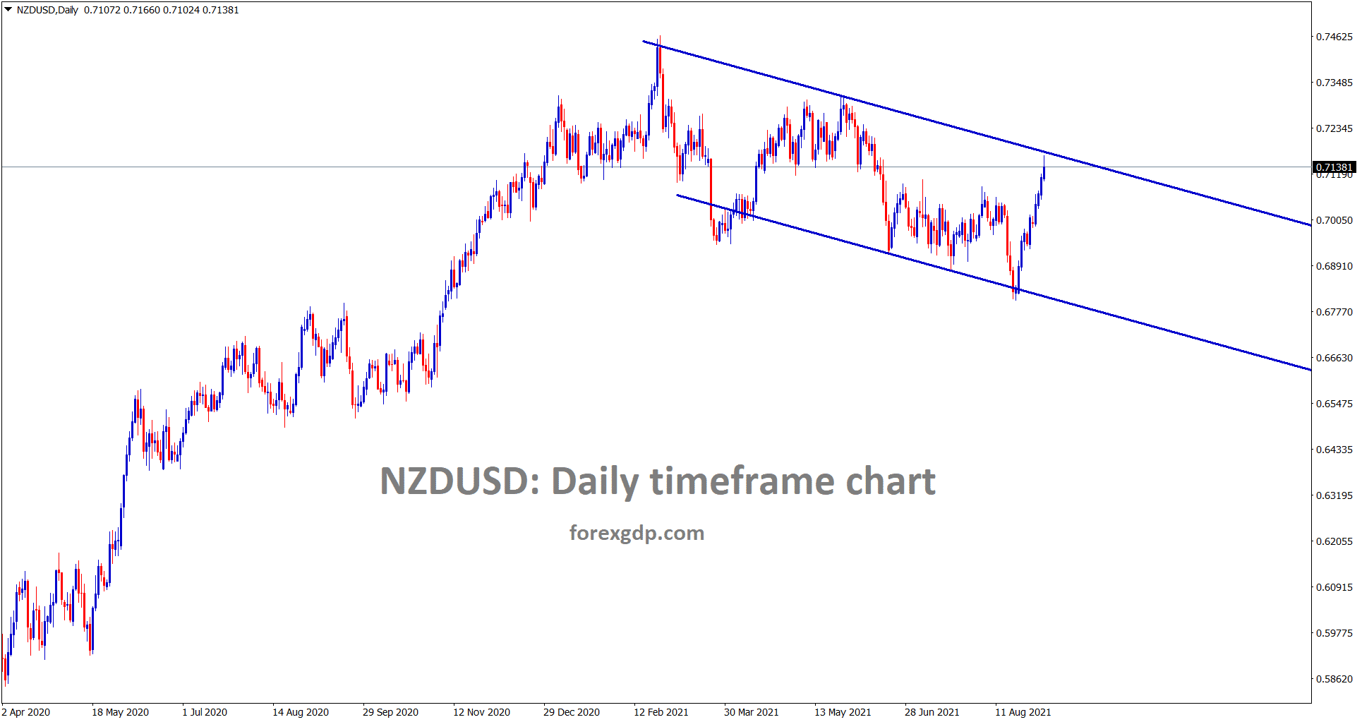 NZDUSD has reached the lower high level of a descending channel