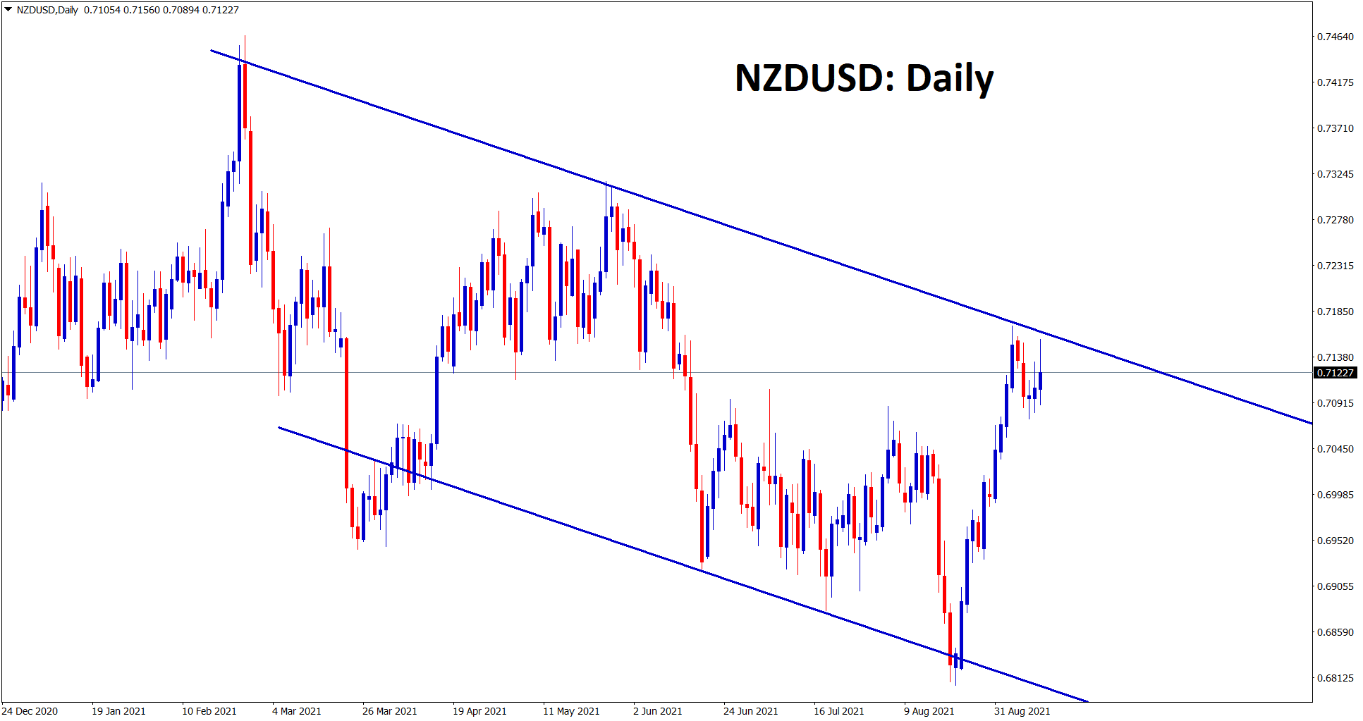 NZDUSD is consolidating at the lower high area of the downtrend line