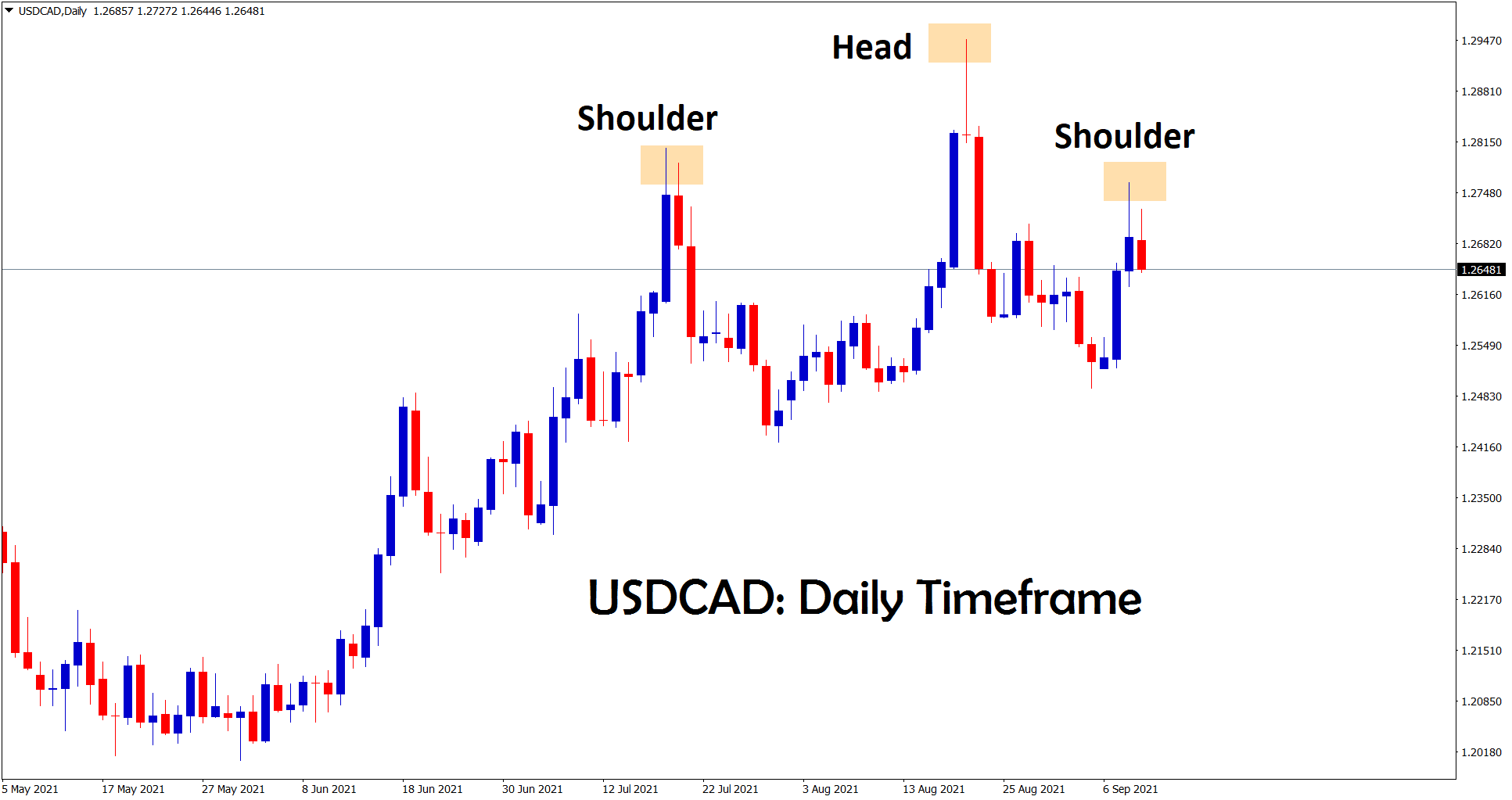 USDCAD is trying to form the Head and Shoulder pattern in the daily chart
