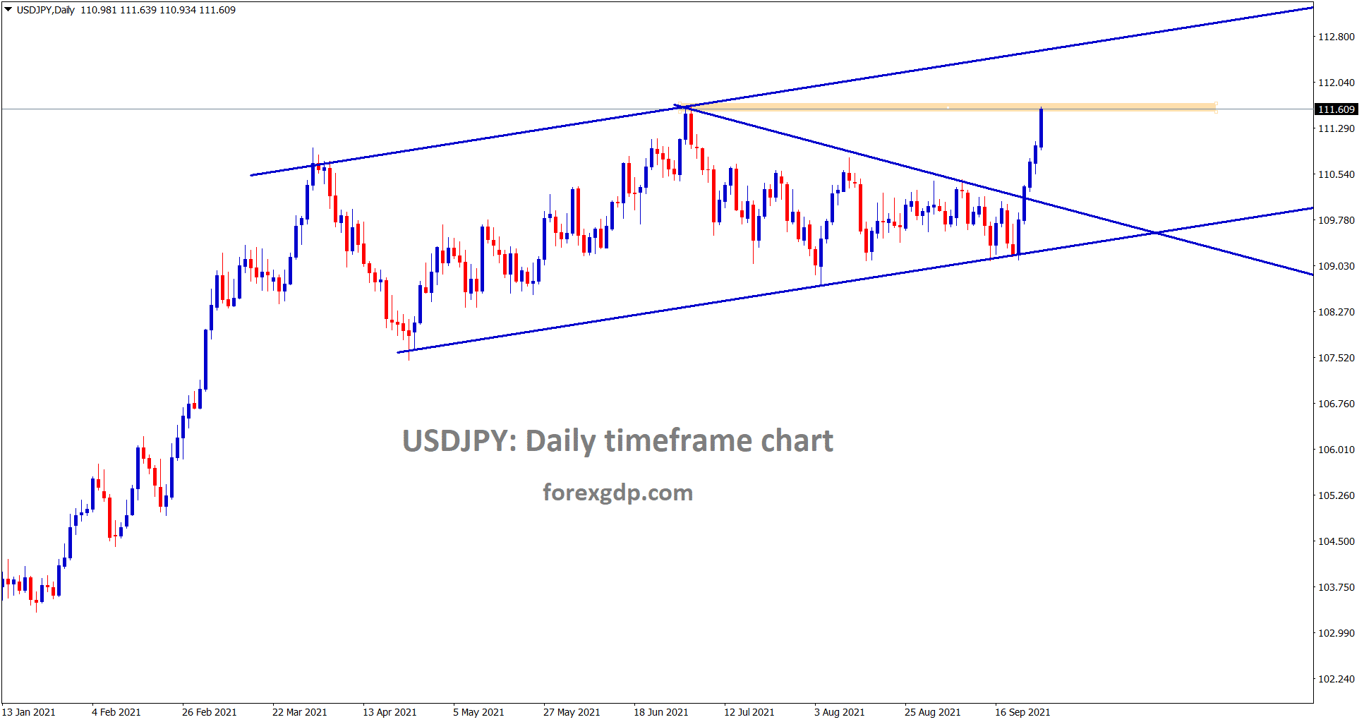 USDJPY has reached the horizontal resistance area 111.60 USDJPY is in strong bullish mode.