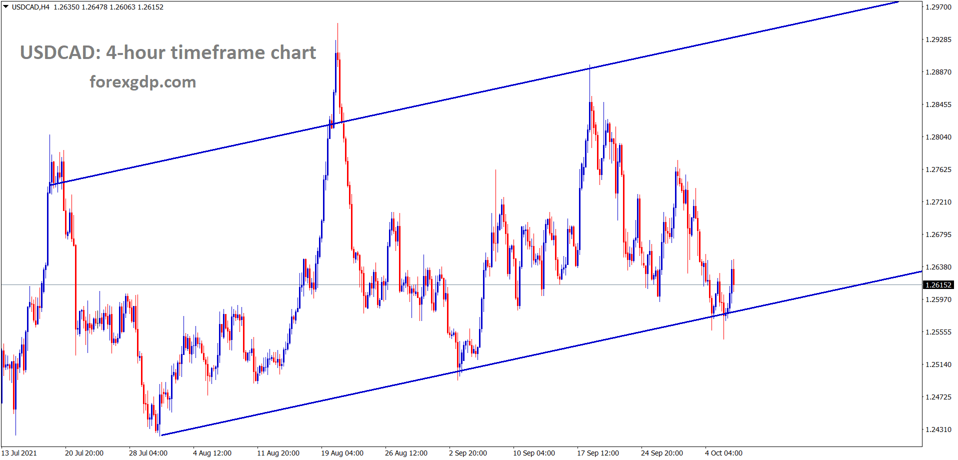 USDCAD is rising from an higher low level of an uptrend line